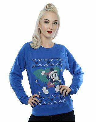 Mickey Mouse Christmas Tree Womens Sweatshirt Jumper Official Disney Small