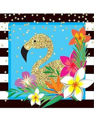 Luau Blue Hawaiian Napkins Flamingo Tropical Summer Party Table Setting