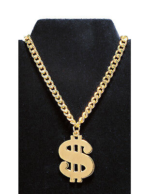 Gold Dollar Sign Mens Adult Rapper Costume Accessory - Gold Dollar Sign Necklace