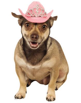 Pink Pet Western Cowboy Cowgirl Princess Dog Cat Costume Hat With Tiara