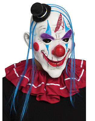 Horror Clown Mens Adult Blue Evil Jester Latex Halloween Costume Mask](Mens Evil Clown Halloween Costumes)