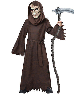 Ancient Grim Reaper Child Brown Robed Skull Halloween Costume