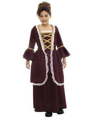 Kolonial Mädchen Kinder Revolutionär Maiden Renaissance Halloween Kostüm