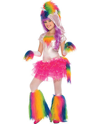 Girls Monster Halloween Costume (Unicorn Rave Monster Fluffy Girls Rainbow Tutu Halloween Party Costume Set)