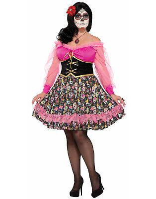 Tag der Toten Spanisch Senorita Zuckerschädel Kleid Costume-Plus Größe