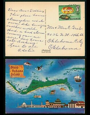 Mayfairstamps Bahamas 1985 Map Picture Postcard to Oklahoma City wwp11559