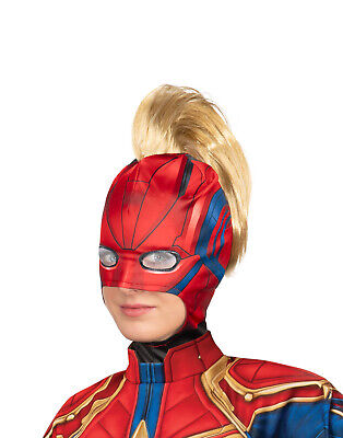 Captain Marvel Womens Adult Superhero Costume Fabric Mask Mohawk Set