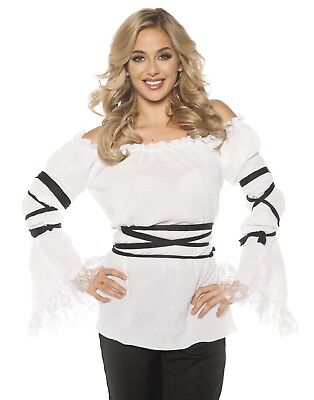 Gauze Pirate Womens Adult Gypsy Bar Wench Maiden Costume Blouse](Pirate Maiden Costume)