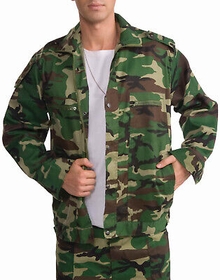 Green Woodland Camouflage Jacket Mens Military Army Costume Jacket-Xl](Army Costume Mens)