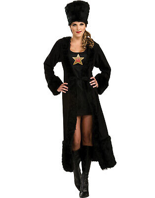 Black Russian Siberia Princess Womens Sexy Long Coat Halloween Costume & Hat S - Russian Princess Halloween Costume