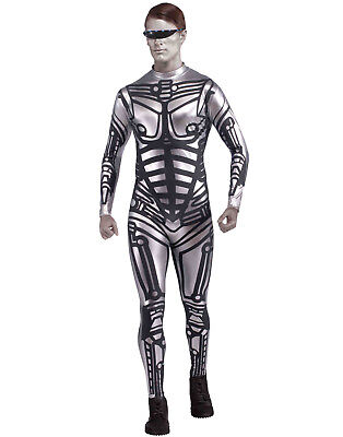 Cyborg Robot Futuristic Silver Jumpsuit Halloween Costume Mens - - Space Man Costume