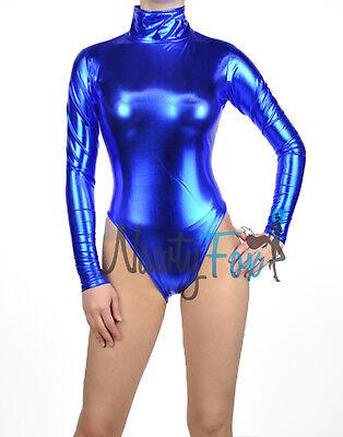 Metallic Blue Mock Neck Long Sleeve Leotard Wet-Look Dance Bodysuit Costume (Metallic Blue)