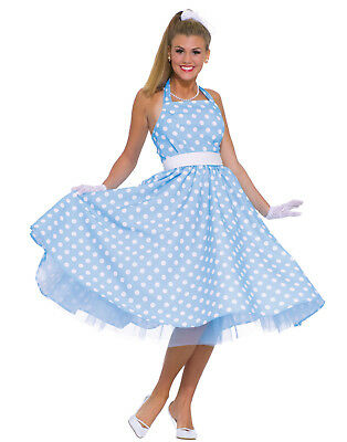 50S Prom Dress Womens Adult Grease Polka Dot Halloween Costume