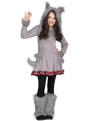 Wolf Girl Halloween Costume (Wolf Cub Furry Gray Plaid Girls Halloween Dress Animal Costume)
