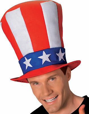 Uncle Sam Stovepipe Top Hat 4Th Of July Patriotic Halloween Costume Accessory