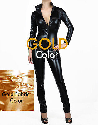 Gold Metallic Bodysuits Wet Look Fetish Pvc Catsuits Catwomen Costume - Catwomen Costume