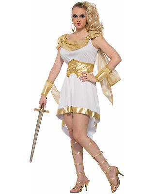 Miss Meter Olympus Griechische Göttin Krieger Weiß & Gold Toga Costume-Std