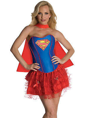 Sexy Super Hero Supergirl Superman Korsett Rock Erwachsene Halloween Kostüm