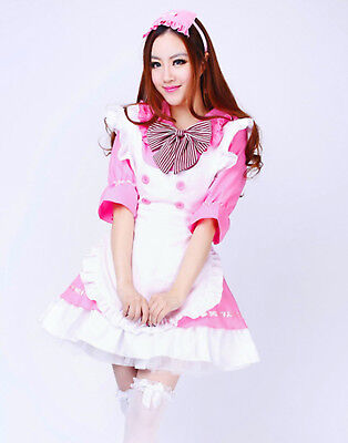 Pink Lolita Cosplay Sexy French Maid Uniform Waitress Halloween - Maids Halloween Costume