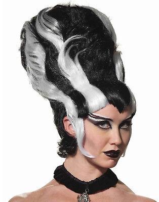Frankenstein'S Bride Lady Monster Wig Black & White Goth Beehive Wig - Beehive Wig Black
