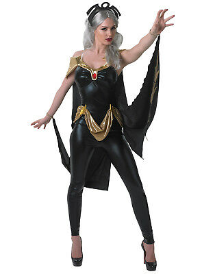 Marvel Universe Womens X-Men Storm Black Cat Suit Jumpsuit Halloween Costume