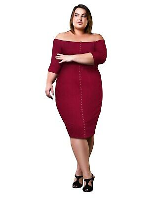 Womens Plus Size Off The Shoulder Stretch Ribbed Sweater Dress Button -