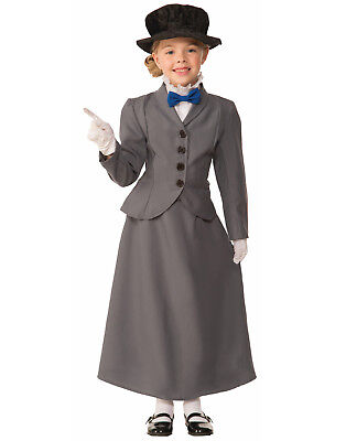 ch Nanny Grau Viktorianisch / Edwardianisch Kinder Kostüm (Marry Poppins Kostüm)
