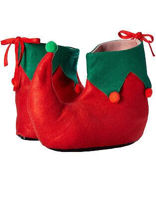 Santa Helfer Spitz Rot mit Grün Rand Elfen Schuhe Weihnachten Kostüm - Elf Weihnachten Kostüm Schuhe