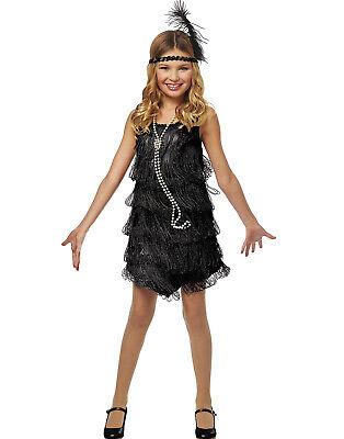 Flapper Mädchen Schwarz 585mS Schwarz Fransen Kleid Kinder Halloween - Flapper Mädchen Kostüm Schwarz