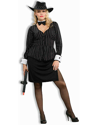 Plus Size Gorgeous Gangster 20'S Pinstripe Mafia Girl - Plus Size Gangster Costumes