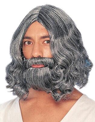 Grau Erwachsene Bart Perücke Biblisch Charakter Jesus Moses Kostüm Zubehör