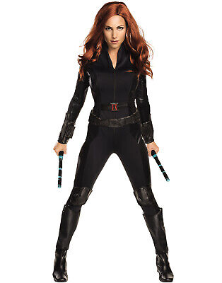 Womens Black Widow Costume (Black Widow Captain America Catsuit Bodysuit Womens Halloween)