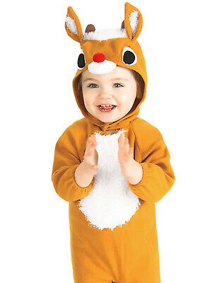 Reindeer Baby Costume (Infant Baby Plush Reindeer Christmas Holiday Halloween Party Kid Toddler)