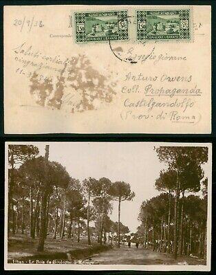 Lebanon 1930s Real Photo postcard to ItalyLe Bois De Boulogne A Mrouge