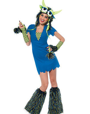 Yeti Rave Monster Hat Dress Gloves Sexy Womens Halloween Party Costume - Yeti Kostüm Halloween