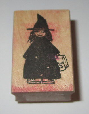 Witch Rubber Stamp Halloween Child Trick or Treat Bag Pointy Hat Impress  - Impressive Halloween Treats