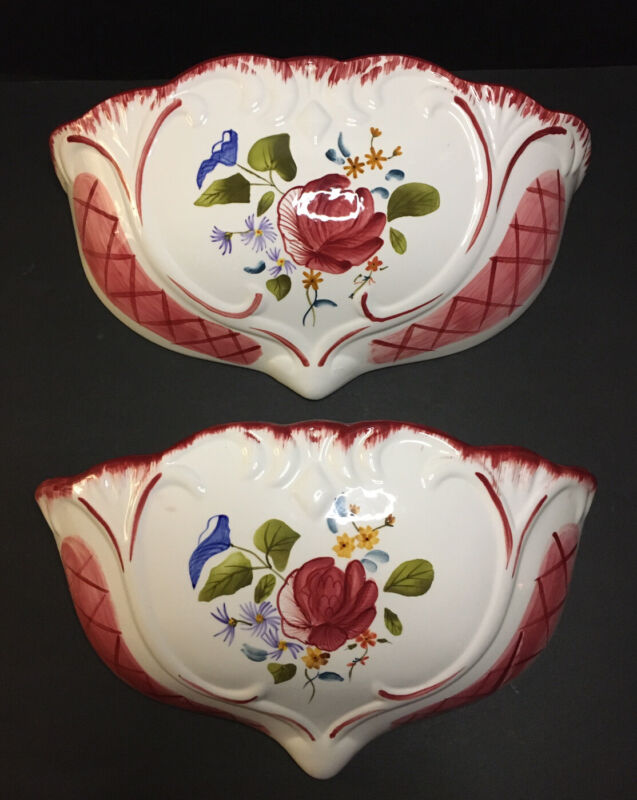 Floral Rose Wall Pockets Ceramic Victorian Inspired Set Of 2