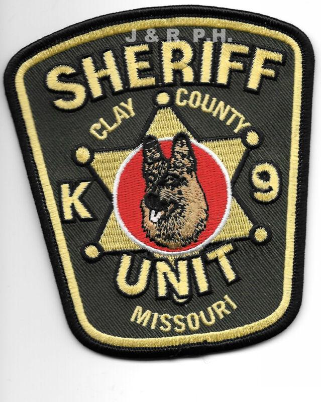 "Clay County Sheriff  K-9 Unit, Missouri (4"" x 4.5"") shoulder police patch (fire)"