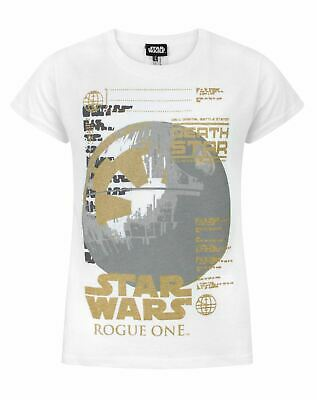 Star Wars Rogue One Metallic Death Star White Girl's T-Shirt