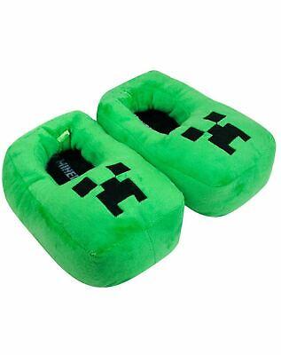 Minecraft Creeper Kids/Boy's 3D Green Plush Novelty Slipper Footwear
