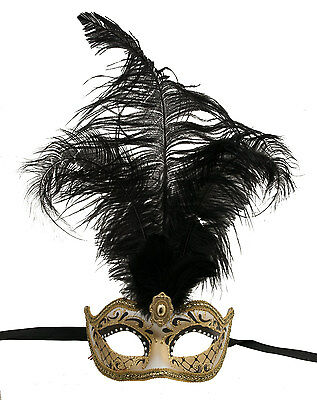 Mask from Venice Colombine in Feathers Ostrich Shayla Black 1455 VG10