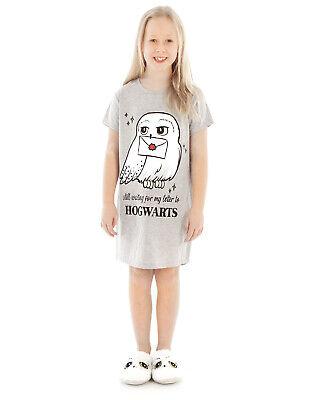 Harry Potter Hedwig Hogwarts Girl's Grey Marl Cotton Night Dress Pyjama
