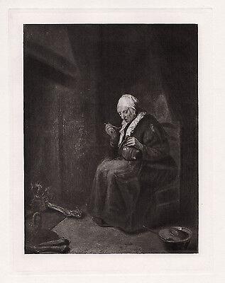 "Gerritsz van Brekelenkam 1800s Print ""An Old Woman eating near a Fireplace"" COA"