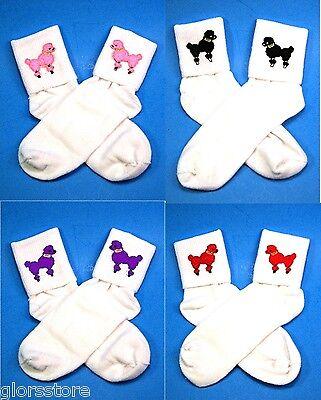 50s Retro Girls, Ladies White Bobbie Bobby Socks Choose Sz Color Poodle FREE SHP