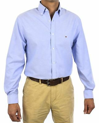 NEW TOMMY HILFIGER MENS NON IRON SLIM FIT OXFORD SOLID DRESS SHIRT 24N0625