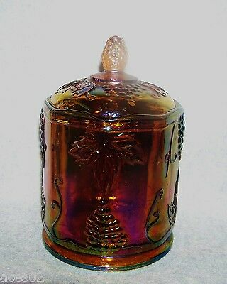 Iridescent Indiana Carnival Glass Amber Marigold Harvest Grape Lidded Canister
