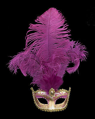 Mask from Venice Colombine in Feathers Ostrich Shayla Pink 1456 VG10