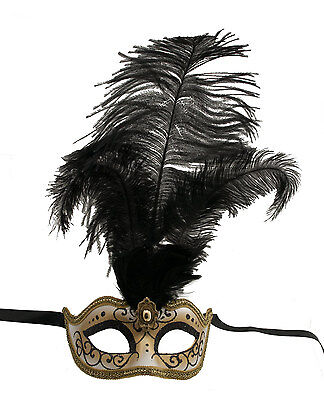 Mask from Venice Colombine in Feathers Ostrich Black Lina 1440 VG10