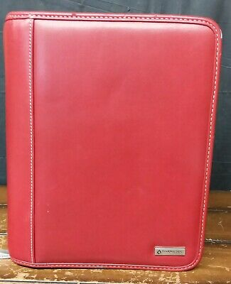 Franklin Covey 7 Ring Binder Organizer With Cards Dividers-10x8 Red Zip Around