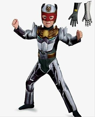 Power Rangers 3-4 Toddler Megaforce Robo Knight Muscle Costume New With Gloves (Toddler Knight Costume)